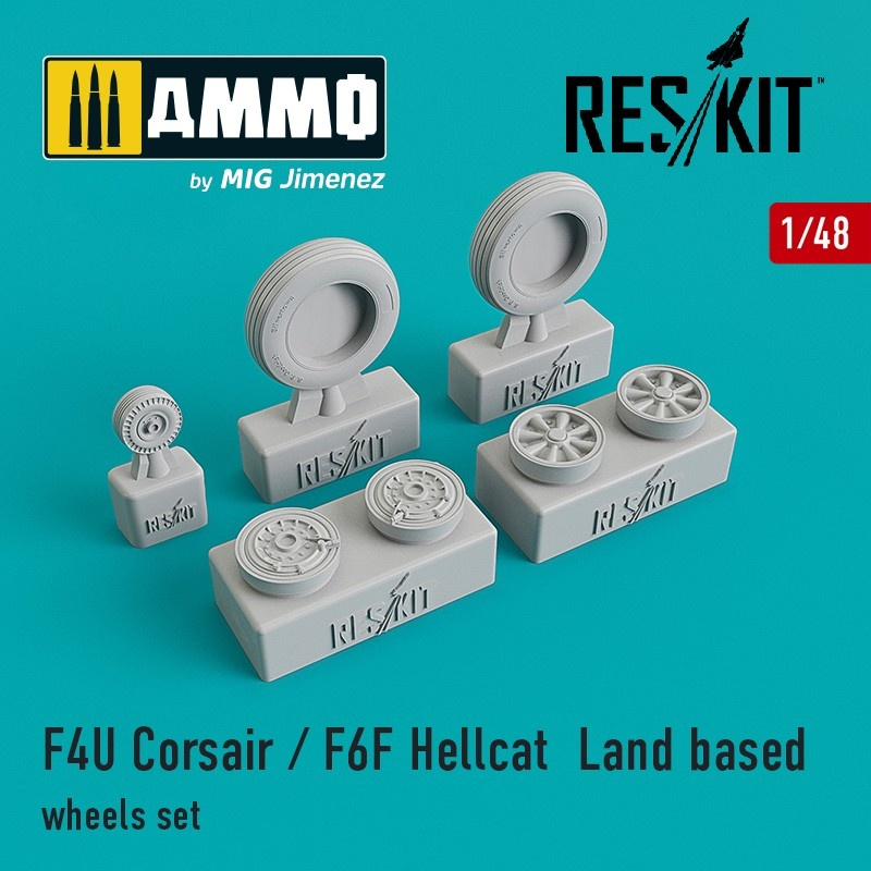 Reskit F4U Corsair / F6F Hellcat  Land based wheels set - Scale 1/48 - Reskit - RS48-0105