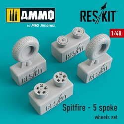 Spitfire - 5 spoke wheels set - Scale 1/48 - Reskit - RS48-0104
