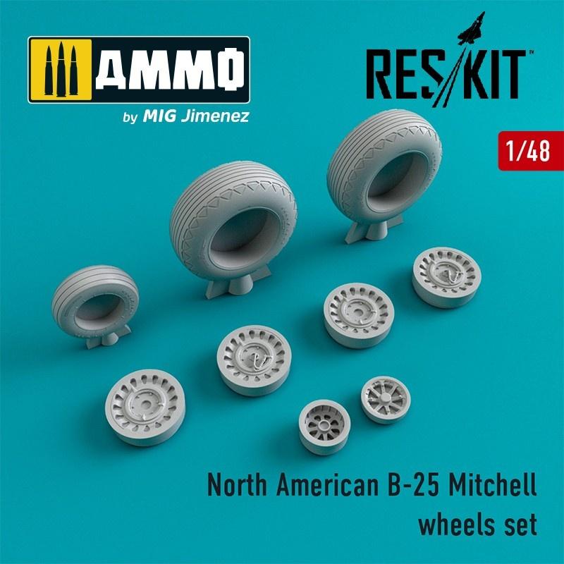Reskit B-25 Mitchell wheels set - Scale 1/48 - Reskit - RS48-0087