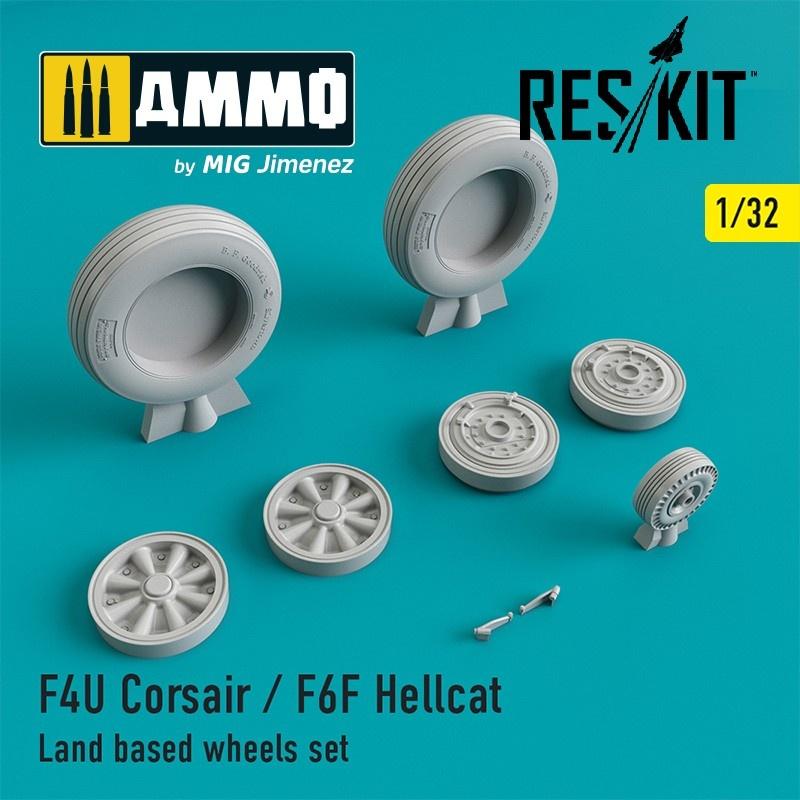 Reskit F4U Corsair / F6F Hellcat Land based wheels set - Scale 1/32 - Reskit - RS32-0105