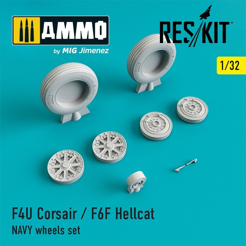Reskit F4U Corsair / F6F Hellcat NAVY wheels set - Scale 1/32 - Reskit - RS32-0106