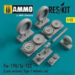 Fw-190/Ta-152 (Late version) Type 1 wheels set - Scale 1/32 - Reskit - RS32-0151