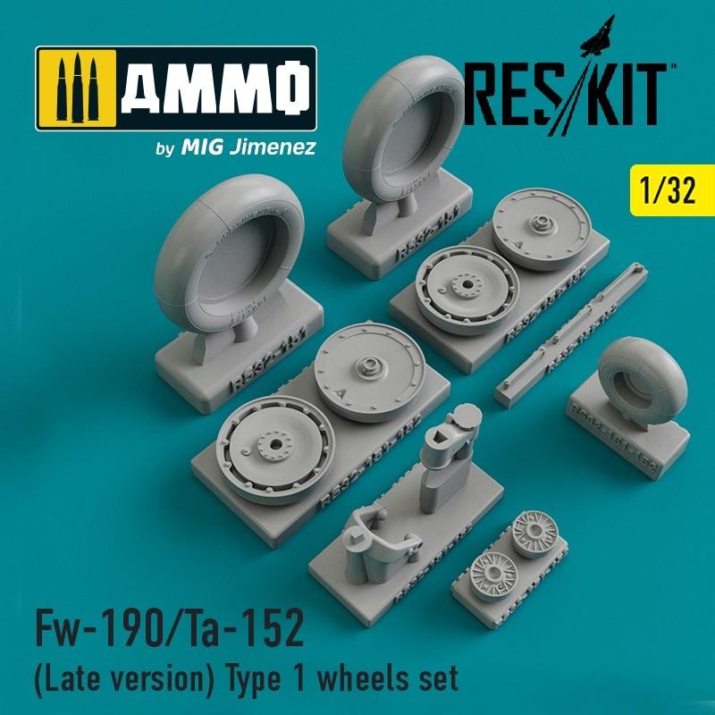 Reskit Fw-190/Ta-152 (Late version) Type 1 wheels set - Scale 1/32 - Reskit - RS32-0151