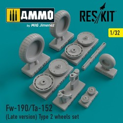 Fw-190/Ta-152 (Late version) Type 2 wheels set - Scale 1/32 - Reskit - RS32-0152