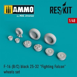 "F-16 (B/C) block 25-32 ""Fighting Falcon"" wheels set  - Scale 1/48 - Reskit - RS48-0024"