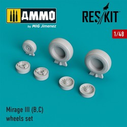 Mirage III (B,C) wheels set  - Scale 1/48 - Reskit - RS48-0028