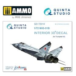 MiG-31B 3D-Printed & coloured Interior on decal paper - Scale 1/72 - Quinta Studio - QD72014