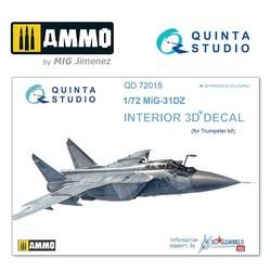 MiG-31DZ 3D-Printed & coloured Interior on decal paper - Scale 1/72 - Quinta Studio - QD72015