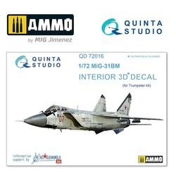MiG-31BM 3D-Printed & coloured Interior on decal paper - Scale 1/72 - Quinta Studio - QD72016