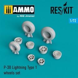 P-38 Lightning Type 1 wheels set - Scale 1/72 - Reskit - RS72-0220