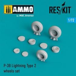P-38 Lightning Type 2 wheels set - Scale 1/72 - Reskit - RS72-0221