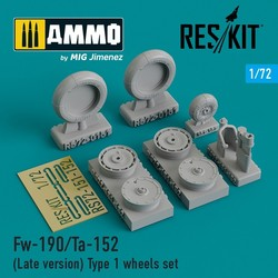 Fw-190/Ta-152 (Late version) Type 1 wheels set - Scale 1/72 - Reskit - RS72-0151