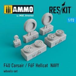 F4U Corsair / F6F Hellcat NAVY wheels set - Scale 1/72 - Reskit - RS72-0106