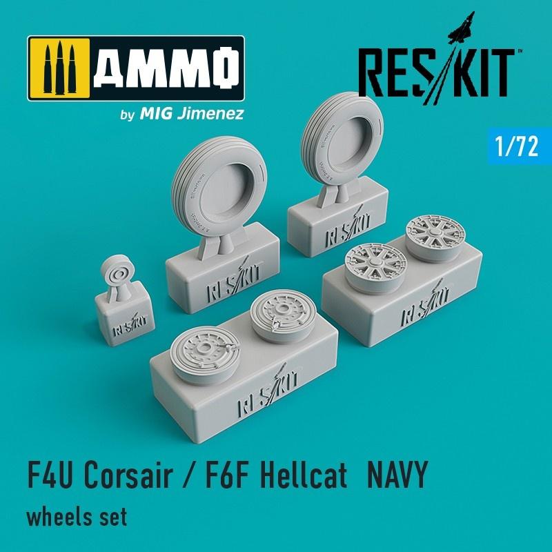 Reskit F4U Corsair / F6F Hellcat NAVY wheels set - Scale 1/72 - Reskit - RS72-0106