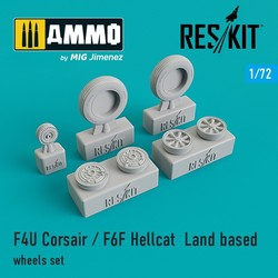 F4U Corsair / F6F Hellcat  Land based wheels set - Scale 1/72 - Reskit - RS72-0105