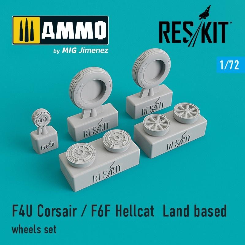 Reskit F4U Corsair / F6F Hellcat  Land based wheels set - Scale 1/72 - Reskit - RS72-0105