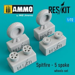 Spitfire - 5 spoke wheels set - Scale 1/72 - Reskit - RS72-0104