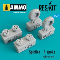 Spitfire - 4 spoke wheels set - Scale 1/72 - Reskit - RS72-0103