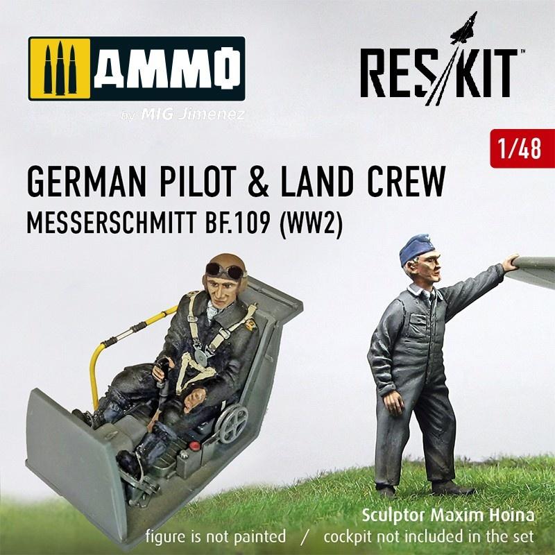 Reskit German pilot & land crew Messerschmitt Bf.109 (WW2) - Scale 1/48 - Reskit - RSF48-0001