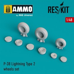 P-38 Lightning Type 2 wheels set - Scale 1/48 - Reskit - RS48-0221