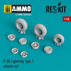 P-38 Lightning Type 1 wheels set - Scale 1/48 - Reskit - RS48-0220