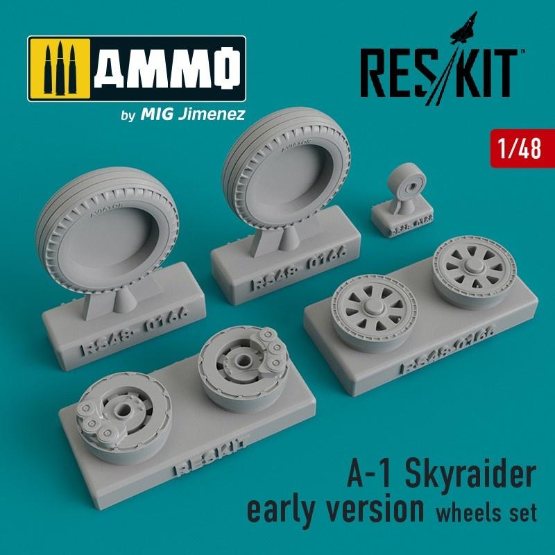 Reskit A-1 Skyraider early version wheels set - Scale 1/48 - Reskit - RS48-0166