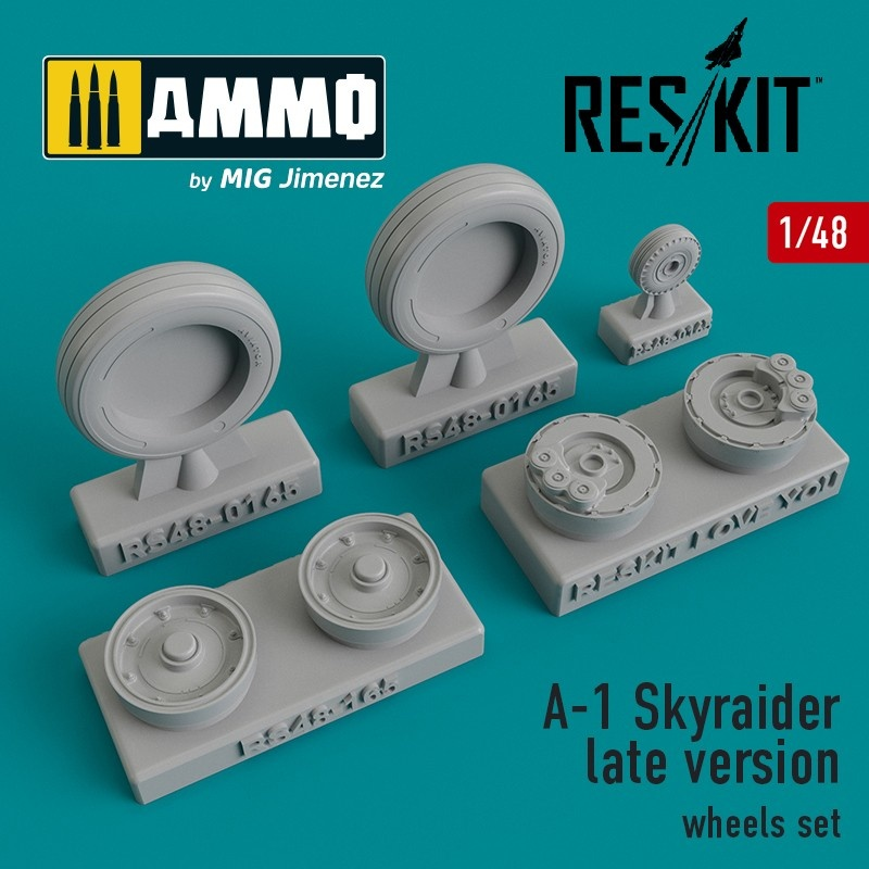 Reskit A-1 Skyraider late version wheels set - Scale 1/48 - Reskit - RS48-0165