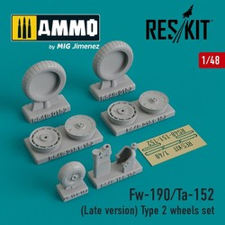 Fw-190/Ta-152 (Late version) Type 2 wheels set - Scale 1/48 - Reskit - RS48-0152