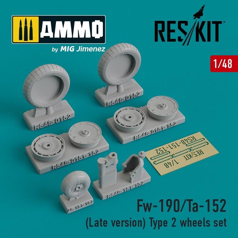 Reskit Fw-190/Ta-152 (Late version) Type 2 wheels set - Scale 1/48 - Reskit - RS48-0152