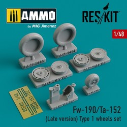 Fw-190/Ta-152 (Late version) Type 1 wheels set - Scale 1/48 - Reskit - RS48-0151