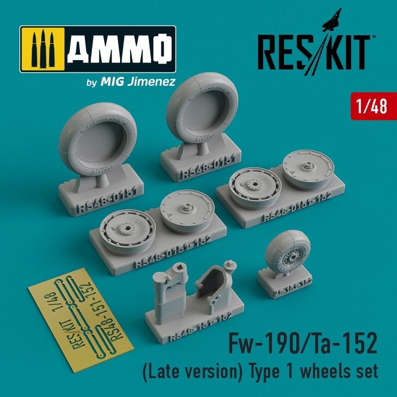 Reskit Fw-190/Ta-152 (Late version) Type 1 wheels set - Scale 1/48 - Reskit - RS48-0151
