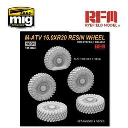 M-ATV 16.0XR20 Resin Wheel, Set-Sagged 4 pieces, Flat Tire Set 1 Piece - Scale 1/35 - Reye Field Models - RM1001