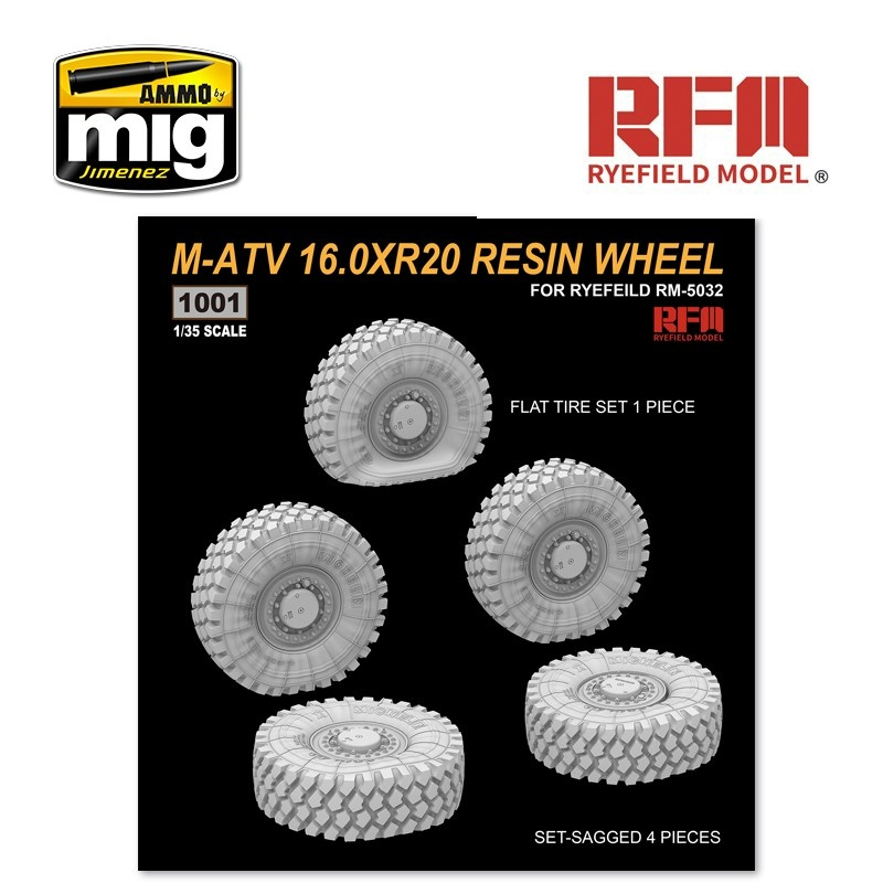 Reye Field Models M-ATV 16.0XR20 Resin Wheel, Set-Sagged 4 pieces, Flat Tire Set 1 Piece - Scale 1/35 - Reye Field Models - RM1001
