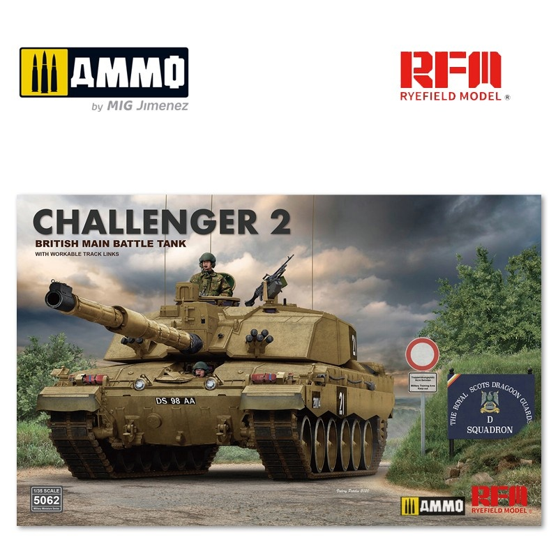 Rye Field Models British Main Battle Tank Challenger 2 with Workable Track Links - Scale 1/35 - Reye Field Models - RFM5062