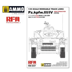 Workable Track Links For Pz.III/IV Early Production (40cm) - Scale 1/35 - Reye Field Models - RFM5047