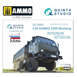 KAMAZ 5350 Mustang Family 3D-Printed & coloured Interior on decal paper - Scale 1/35 - Quinta Studio - QD35003