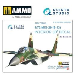 MiG-29 9-13  3D-Printed & coloured Interior on decal paper - Scale 1/72 - Quinta Studio - QD72002