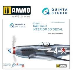 Yak-3 3D-Printed & coloured Interior on decal paper - Scale 1/48 - Quinta Studio - QD48001