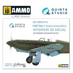 Yak-1 (early production) 3D-Printed & coloured Interior on decal paper - Scale 1/48 - Quinta Studio - QD48002