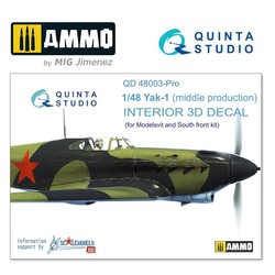 Yak-1 (mid. production) 3D-Printed & coloured Interior on decal paper - Scale 1/48 - Quinta Studio - QD48003