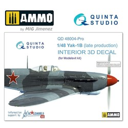 Yak-1B (late production) 3D-Printed & coloured Interior on decal paper - Scale 1/48 - Quinta Studio - QD48004