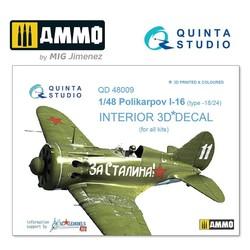 I-16 type 18/24 3D-Printed & coloured Interior on decal paper - Scale 1/48 - Quinta Studio - QD48009