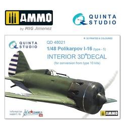 I-16 type 5 3D-Printed & coloured Interior on decal paper - Scale 1/48 - Quinta Studio - QD48021