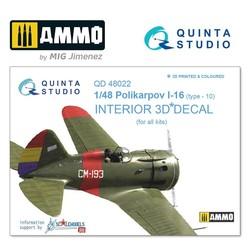 I-16 type 10 3D-Printed & coloured Interior on decal paper - Scale 1/48 - Quinta Studio - QD48022