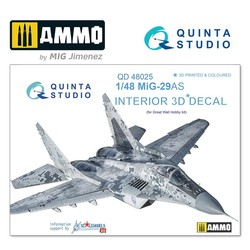MiG-29AS (Slovak AF version) 3D-Printed & coloured Interior on decal paper - Scale 1/48 - Quinta Studio - QD48025