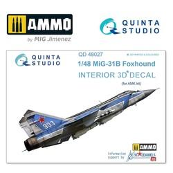 MiG-31B  3D-Printed & coloured Interior on decal paper - Scale 1/48 - Quinta Studio - QD48027
