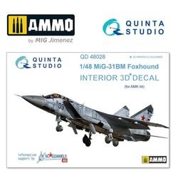 MiG-31BM  3D-Printed & coloured Interior on decal paper - Scale 1/48 - Quinta Studio - QD48028