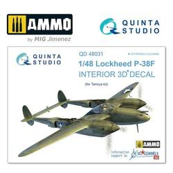P-38F 3D-Printed & coloured Interior on decal paper - Scale 1/48 - Quinta Studio - QD48031