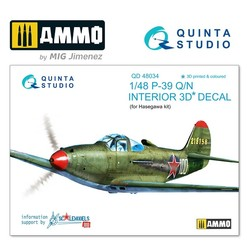 P-39Q/N  3D-Printed & coloured Interior on decal paper - Scale 1/48 - Quinta Studio - QD48034