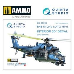Mi-24V NATO (black panels)  3D-Printed & coloured Interior on decal paper - Scale 1/48 - Quinta Studio - QD48036